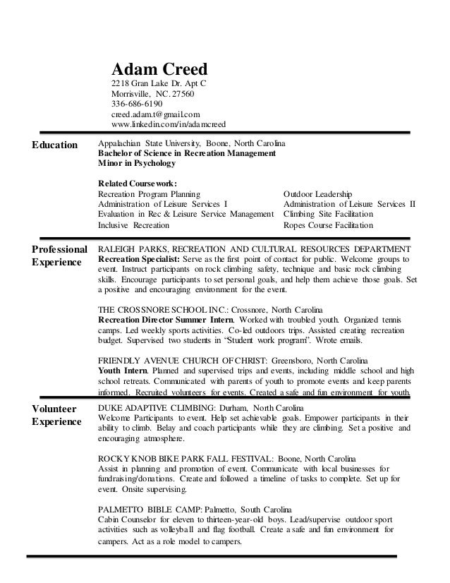 Adam Creed\'s Resume