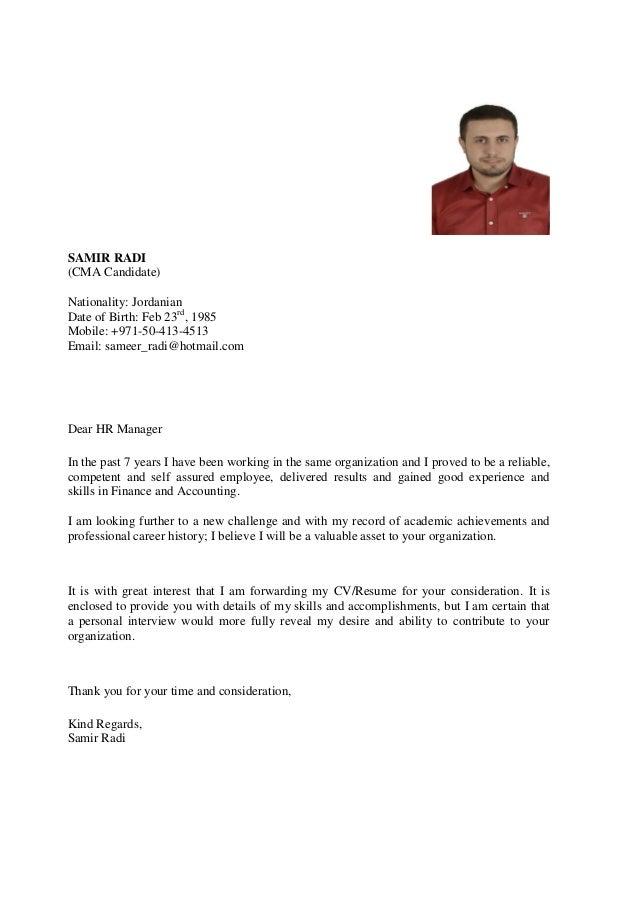 SAMIR RADI (CMA Candidate) Nationality: Jordanian Date of Birth: Feb 23rd , 1985 Mobile: +971-50-413-4513 Email: sameer_ra...
