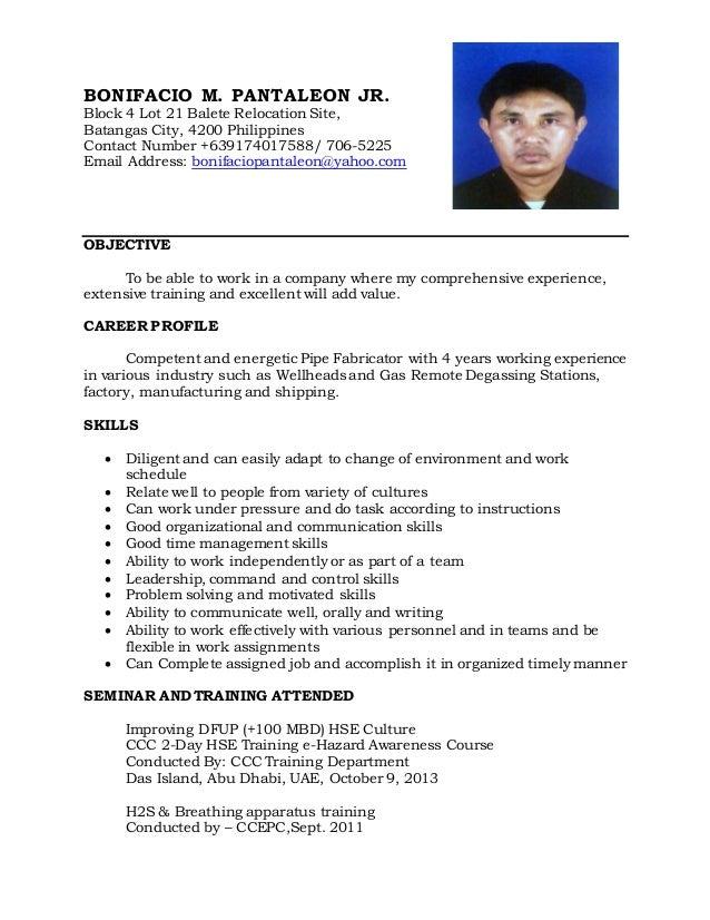 BONIFACIO M. PANTALEON JR. Block 4 Lot 21 Balete Relocation Site, Batangas City, 4200 Philippines Contact Number +63917401...