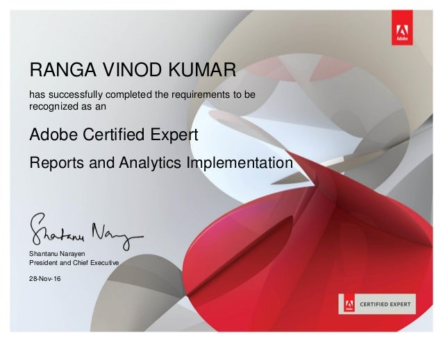 RANGA VINOD KUMAR THIMMAPATHRUNIhas successfully completed the requirements to be recognized as an Adobe Certified Expert ...