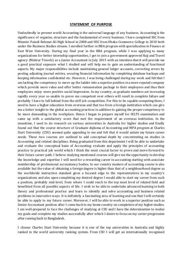 statement of purpose for mpa in australia