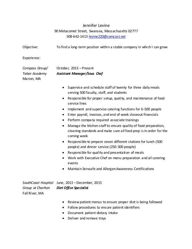 Jennifer Levine 90 Metacomet Street, Swansea, Massachusetts 02777 508-642-1413 levine220@comcast.net Objective: To find a ...