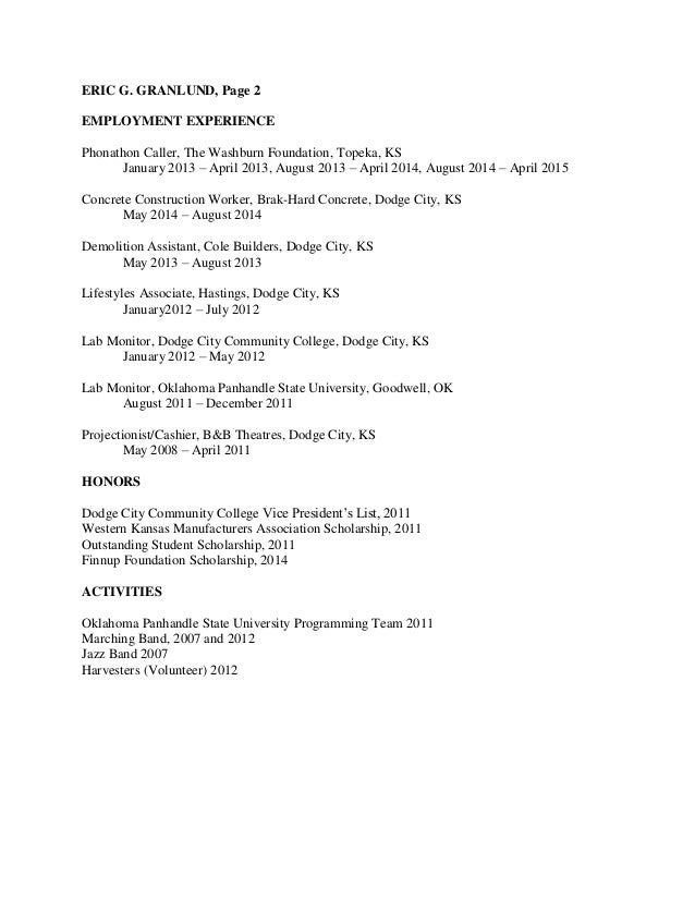computer science resume eric granlund - Computer Science Resume