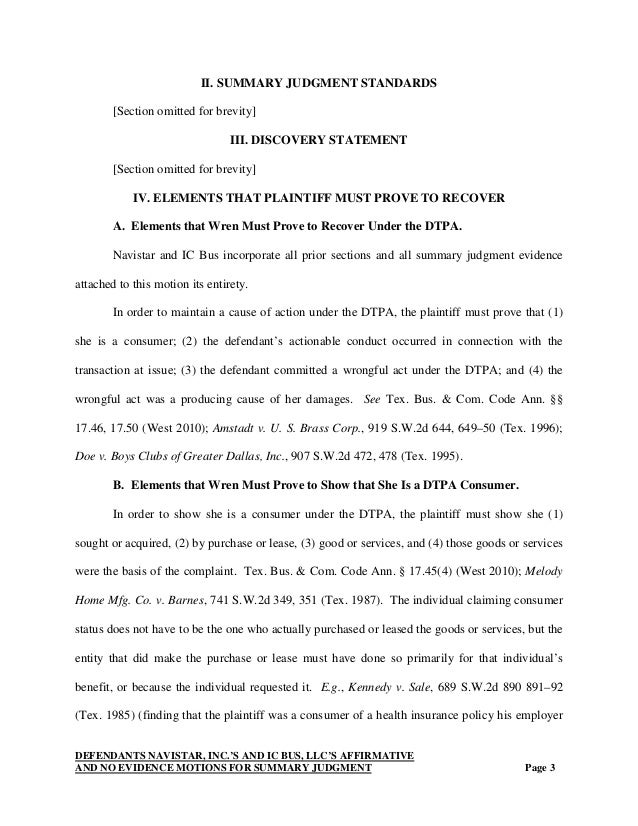 Writing sample (motion for summary judgment- abbreviated) for Martine…