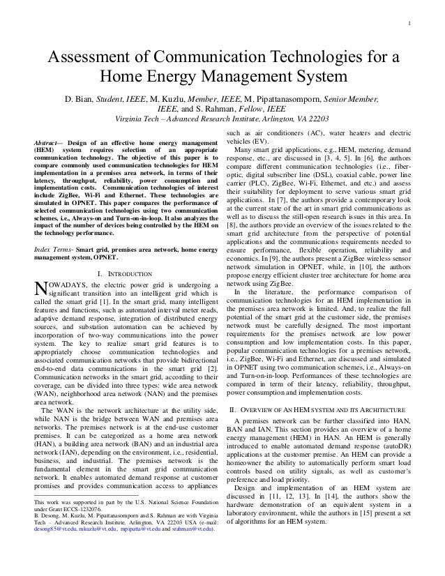 1  Abstract— Design of an effective home energy management (HEM) system requires selection of an appropriate communicatio...