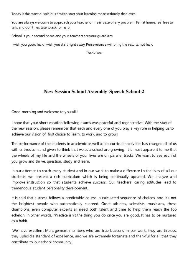New session school speech