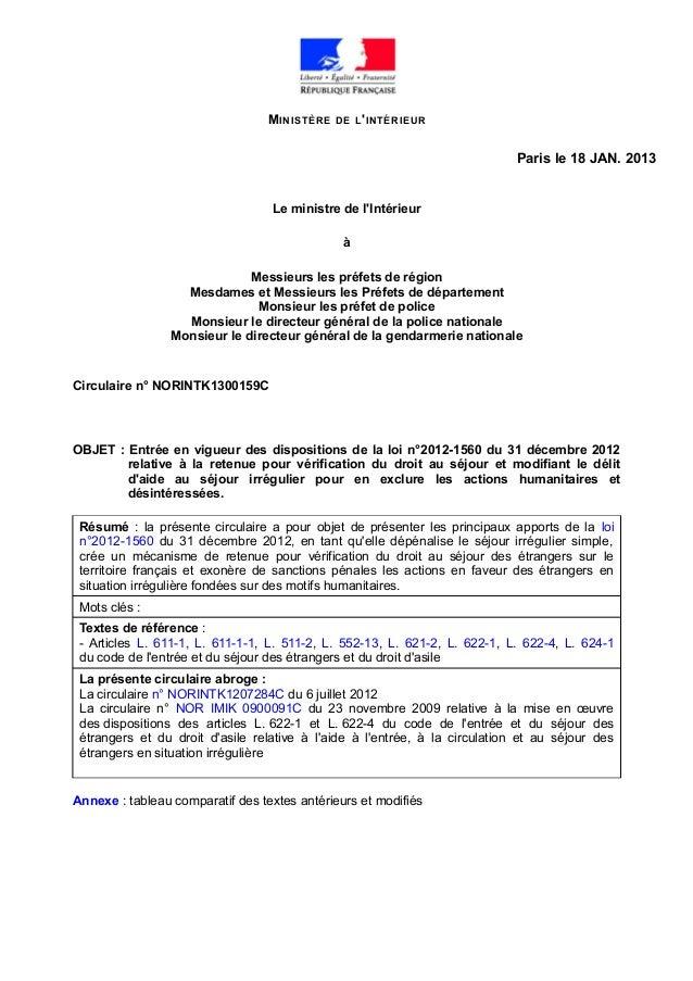 MINISTÈRE DE L'INTÉRIEUR Paris le 18 JAN. 2013 Le ministre de l'Intérieur à Messieurs les préfets de région Mesdames et Me...