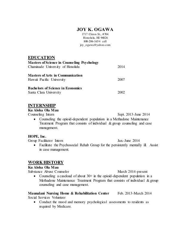 counseling resume joy k ogawa 1717 citron st 704 honolulu