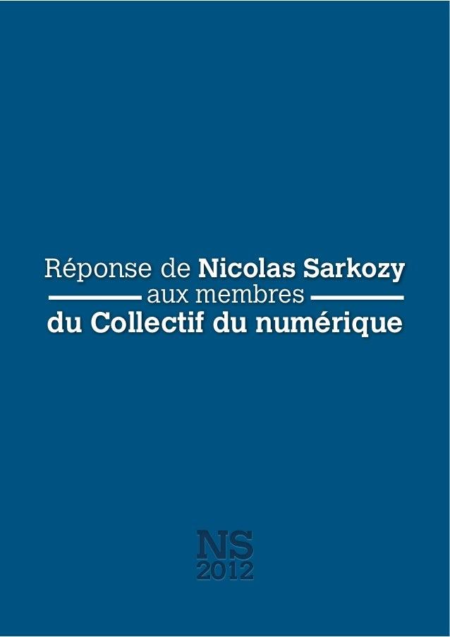 Réponse de Nicolas Sarkozy du Collectif du numérique aux membres