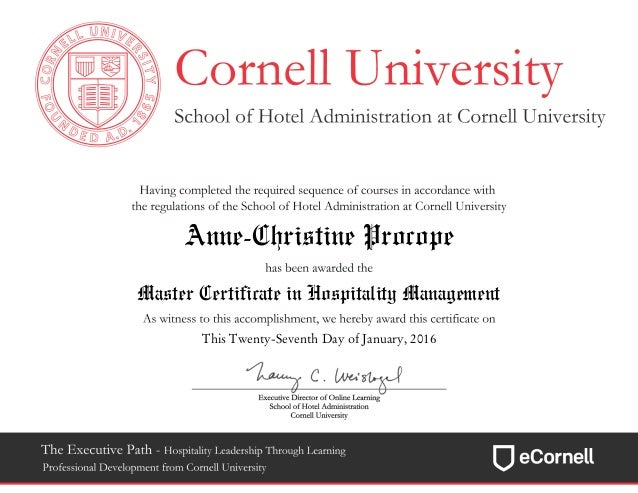 Cornell University Master Certificate in Hospitality Management