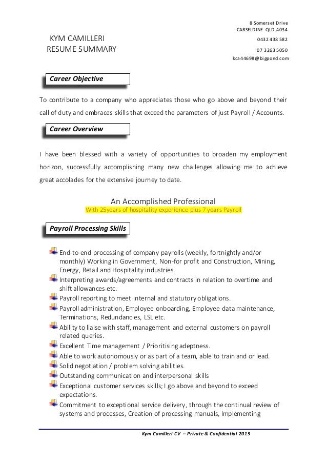 Payroll resume summary