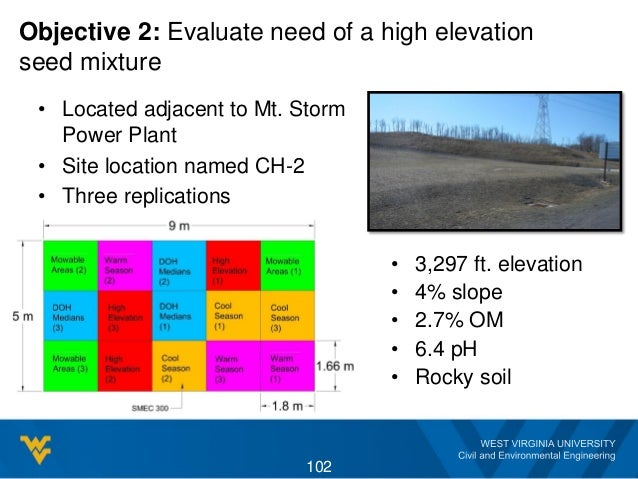 Objective 2: Evaluate need of a high elevation seed mixture • Located adjacent to Mt. Storm Power Plant • Site location na...