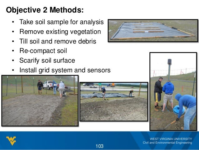 Objective 2 Methods: • Take soil sample for analysis • Remove existing vegetation • Till soil and remove debris • Re-compa...