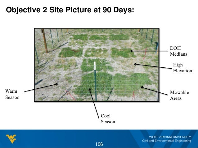 Objective 2 Site Picture at 90 Days: 106 High Elevation Mowable Areas Cool Season Warm Season DOH Medians