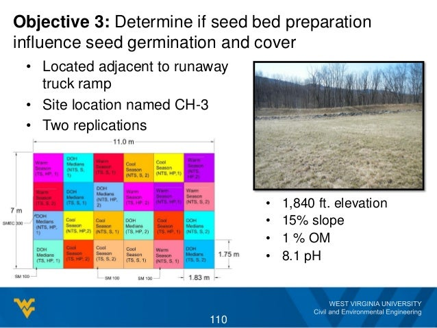 Objective 3: Determine if seed bed preparation influence seed germination and cover • Located adjacent to runaway truck ra...