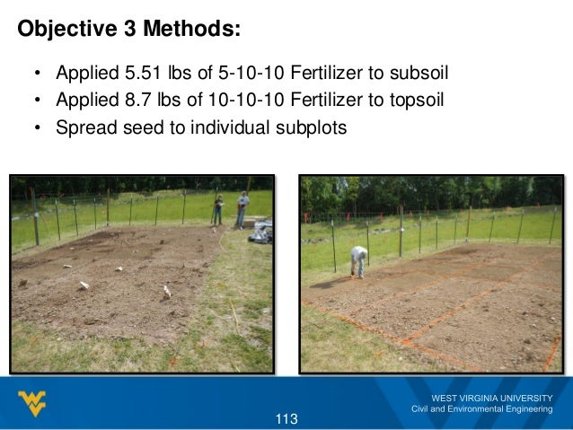 Objective 3 Methods: • Applied 5.51 lbs of 5-10-10 Fertilizer to subsoil • Applied 8.7 lbs of 10-10-10 Fertilizer to topso...