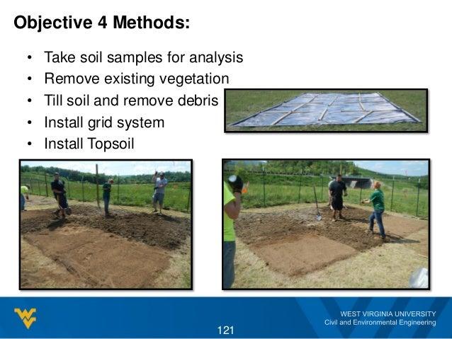Objective 4 Methods: • Take soil samples for analysis • Remove existing vegetation • Till soil and remove debris • Install...
