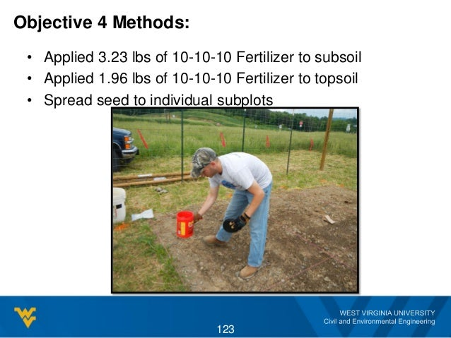 Objective 4 Methods: • Applied 3.23 lbs of 10-10-10 Fertilizer to subsoil • Applied 1.96 lbs of 10-10-10 Fertilizer to top...