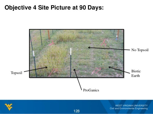 Objective 4 Site Picture at 90 Days: 128 Topsoil ProGanics Biotic Earth No Topsoil