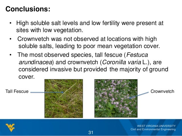 Conclusions: 31 • High soluble salt levels and low fertility were present at sites with low vegetation. • Crownvetch was n...