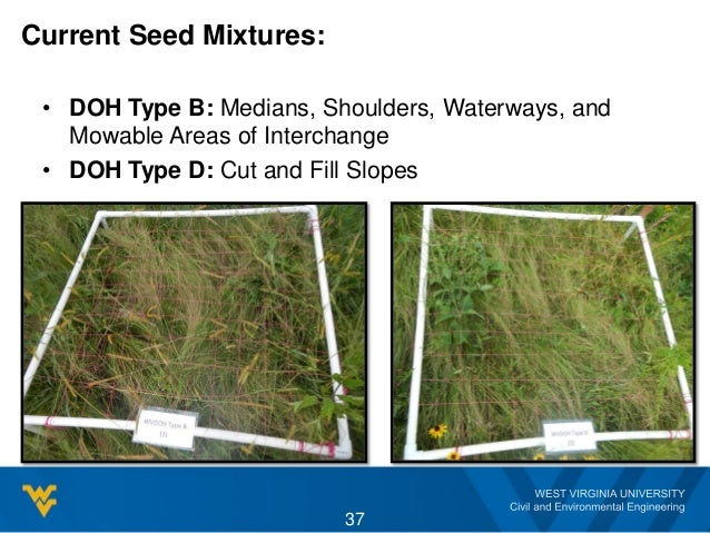 Current Seed Mixtures: • DOH Type B: Medians, Shoulders, Waterways, and Mowable Areas of Interchange • DOH Type D: Cut and...