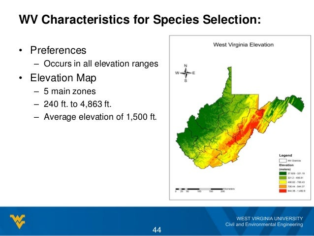 WV Characteristics for Species Selection: • Preferences – Occurs in all elevation ranges • Elevation Map – 5 main zones – ...
