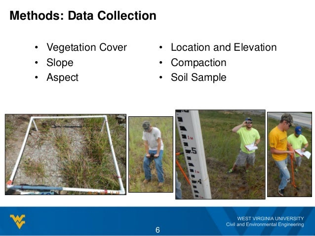 Methods: Data Collection • Vegetation Cover • Slope • Aspect • Location and Elevation • Compaction • Soil Sample 6