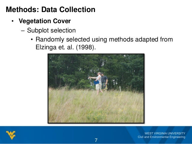 Methods: Data Collection • Vegetation Cover – Subplot selection • Randomly selected using methods adapted from Elzinga et....