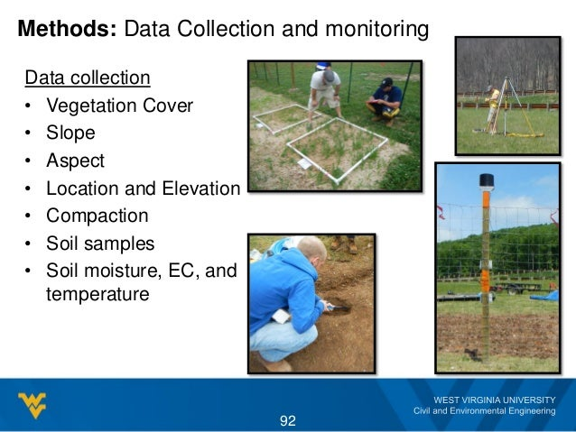 Methods: Data Collection and monitoring Data collection • Vegetation Cover • Slope • Aspect • Location and Elevation • Com...