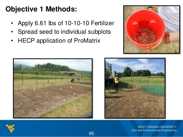 Objective 1 Methods: • Apply 6.61 lbs of 10-10-10 Fertilizer • Spread seed to individual subplots • HECP application of Pr...