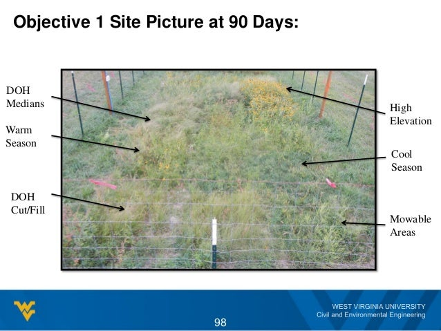 Objective 1 Site Picture at 90 Days: 98 High Elevation Cool Season Warm Season DOH Cut/Fill DOH Medians Mowable Areas