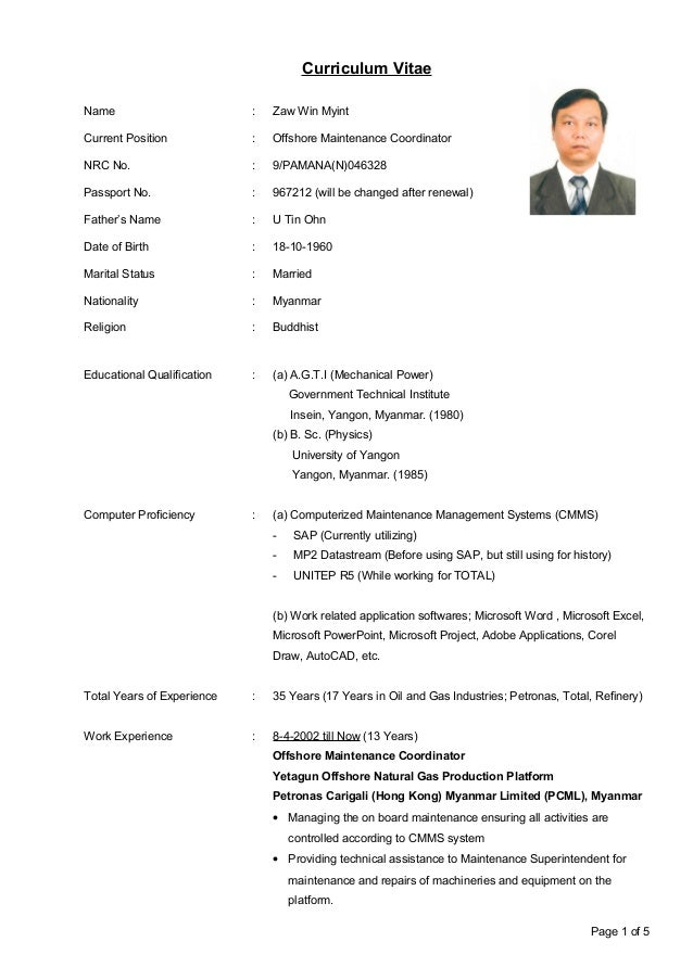 zaw win myint  cv  april 2015