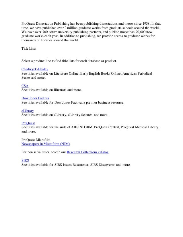 Proquest dissertations publishing