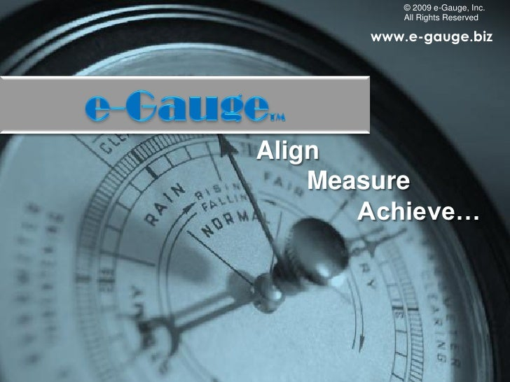 © 2009 e-Gauge, Inc.            All Rights Reserved         www.e-gauge.biz     Align     Measure        Achieve…