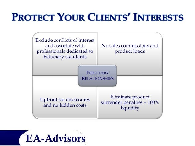 Exclude conflicts of interest     and associate with         No sales commissions and professionals dedicated to          ...