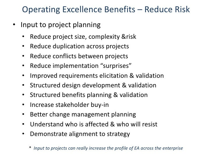 ... Integration; 4. Operating Excellence Benefits ...