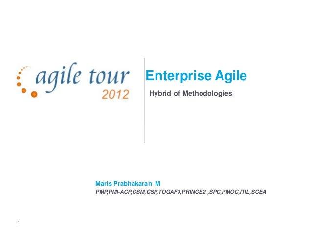 1 Enterprise Agile Hybrid of Methodologies Maris Prabhakaran M PMP,PMI-ACP,CSM,CSP,TOGAF9,PRINCE2 ,SPC,PMOC,ITIL,SCEA