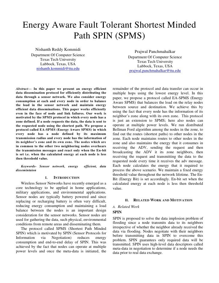 Energy Aware Fault Tolerant Shortest Minded               Path SPIN (SPMS)             Nishanth Reddy Kommidi             ...