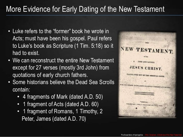 early dating of the new testament