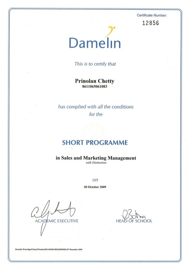 Sales and Marketing Management Certificate