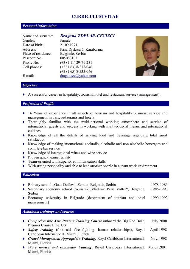 cv for waitress