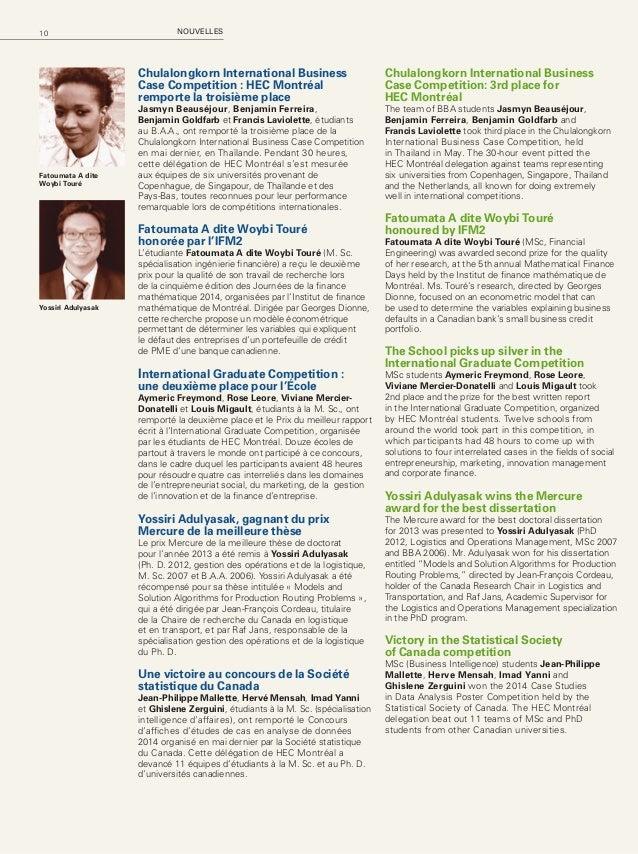11HEC Montréal Mag – Automne 2014 Thomas Micheneau remporte le Prix du meilleur mémoire Le Prix du meilleur mémoire 2012-2...