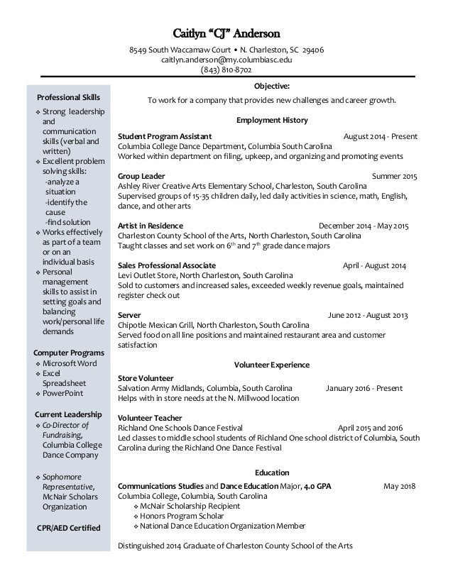 Cj Anderson Resume With References
