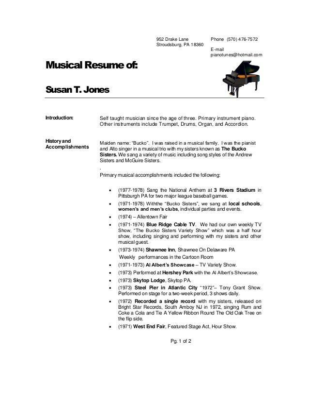 musical resume suzanne