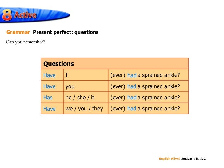 Can you remember? Grammar   Present perfect: questions (ever)  had  a sprained ankle? (ever)  had  a sprained ankle? we / ...