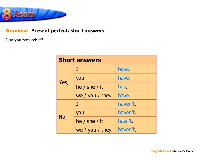 have have has have haven't haven't hasn't haven't Can you remember? Grammar   Present perfect: short answers haven't . I h...