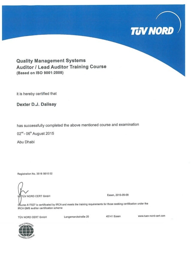 Irca quality management systems (iso 9001:2015) lead auditor.