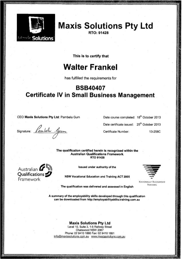 BSB40407 - Certificate IV in Small Business Management - W.L Frankel