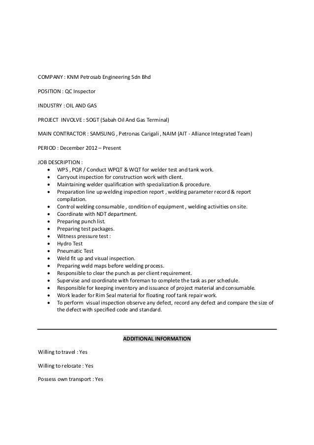 Mohamad faiz bin abdullah resume for Punch list procedure