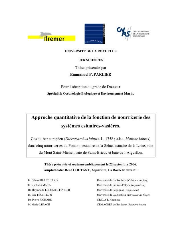 UNIVERSITE DE LA ROCHELLE UFR SCIENCES Thèse présentée par Emmanuel P. PARLIER Pour l'obtention du grade de Docteur Spécia...